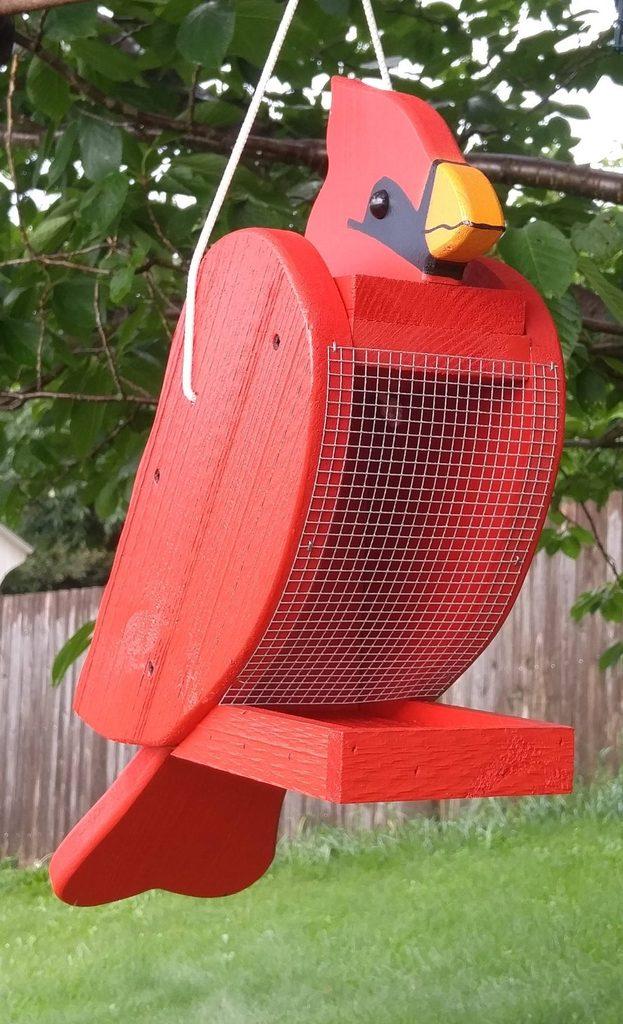 cardinal shaped bird feeder
