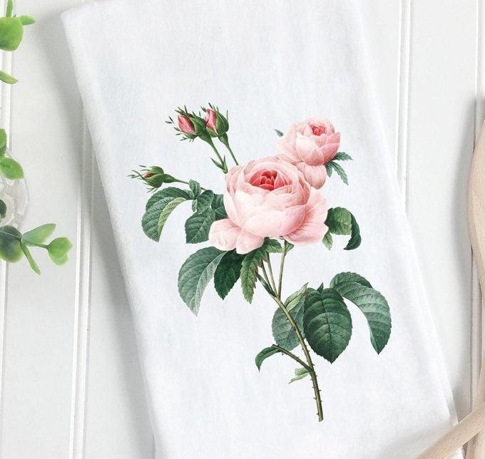 rose tea towel, rose gifts