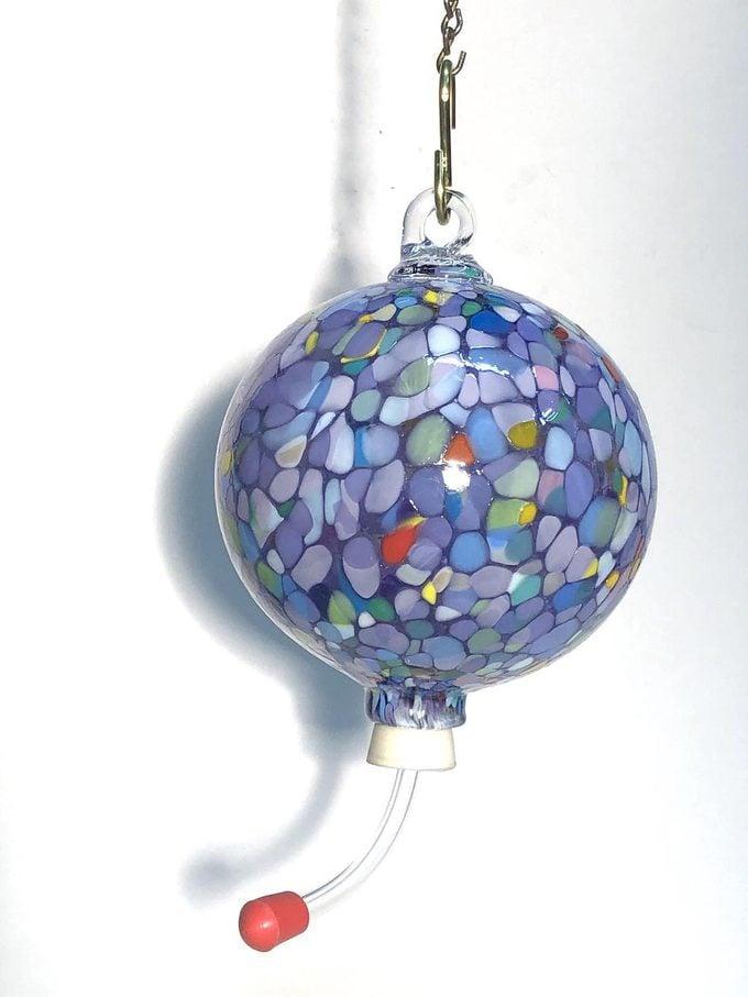 artsy glass hummingbird feeder