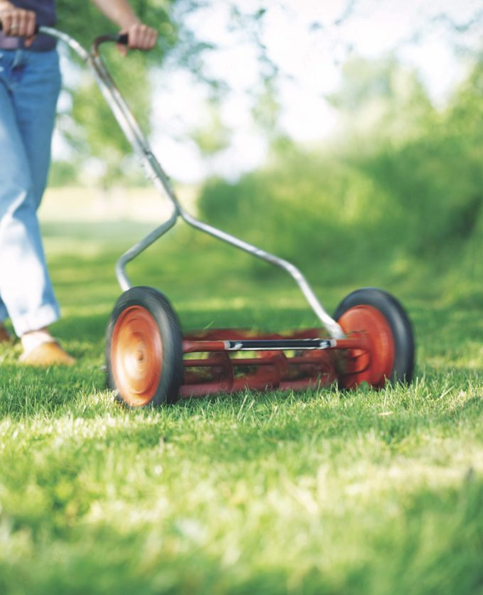 A person pushing a push lawn mower across the yard.