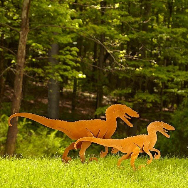 Velociraptor Garden Sculpture Set