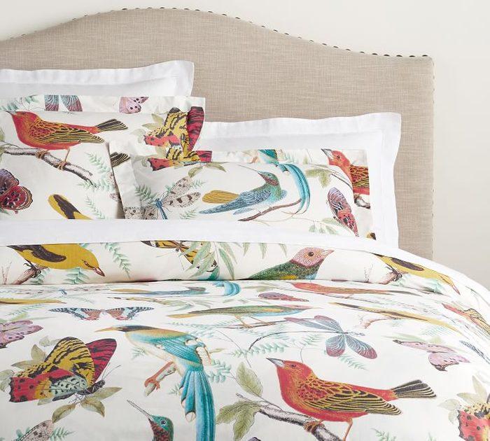 Fauna Bird Print Organic Percale Duvet Cover Shams O