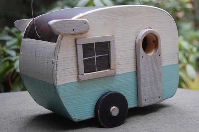 unique birdhouse trailer
