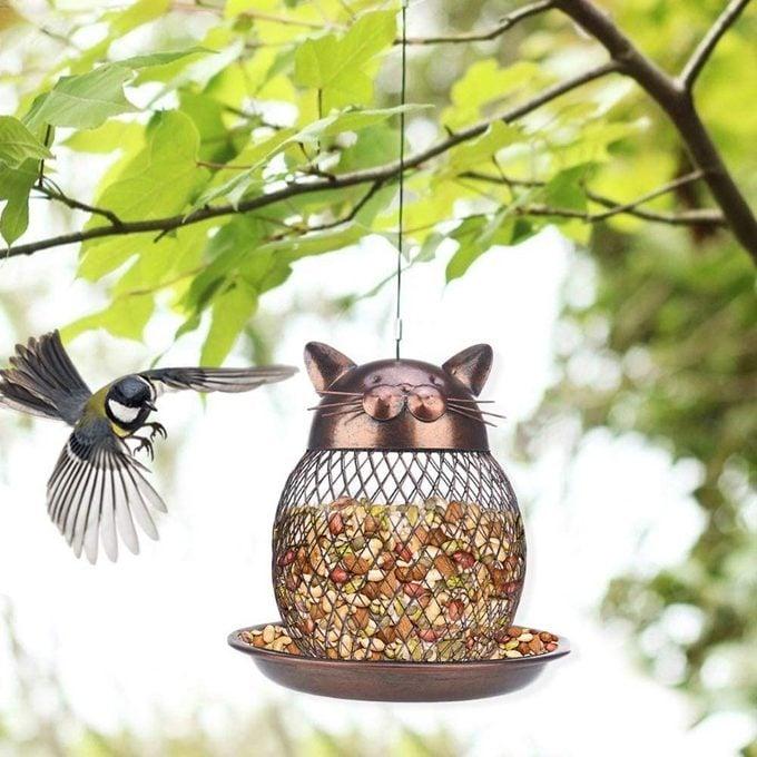 cat shaped bird feeder