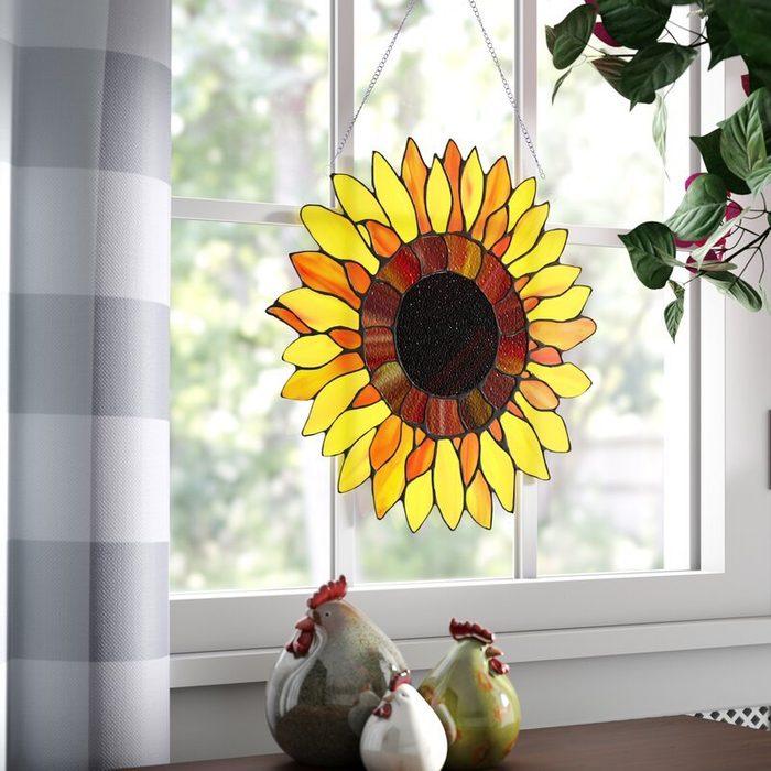 Tiffany+glass+sunflower+window+panel