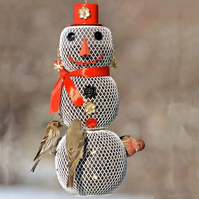 snow woman bird feeder