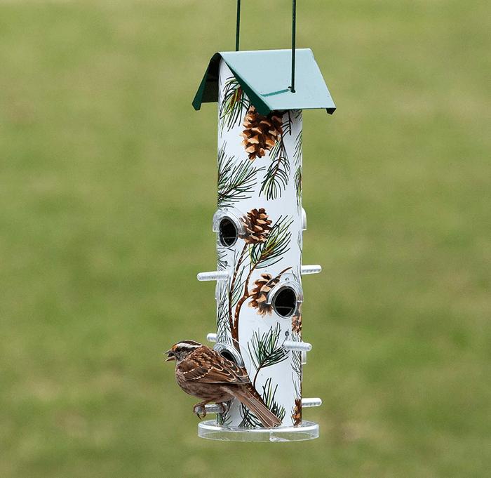 pine tube winter bird feeder